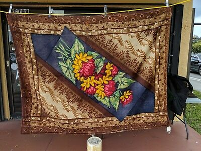 Antique Victorian Chase Sleigh Blanket/Buggy Blanket Flowers Blue Background