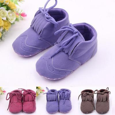2016 Girls Cute Tassel Baby Kids Toddler Matte Lace Up Shoes 0-1Y