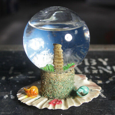 Vintage Beach glass Snow Globe sea shell base