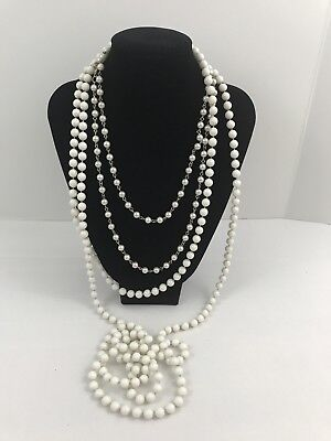 Vintage To Now Estate Jewelry Lot 2 Necklaces White Pearl Design Beads