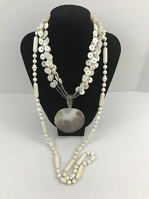 Vintage To Now Estate Jewelry Lot 2 Necklaces White Pearl Beads