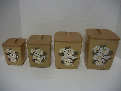 Vintage Mcm Harvest Gold With Daisy Design Plastic Canister Set Of 4