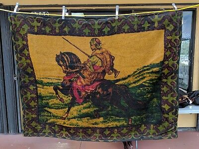 Antique Victorian Chase Sleigh Blanket/Buggy Blanket Middle Eastern Rider Design