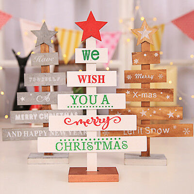 Wooden Christmas Tree Ornament Hanging Pendant Xmas Home Party Table Decor DIY