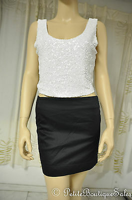 Nwt Arden B Crop Top Tank Shirt White Sequin Sheer Back Women's Size M Medium