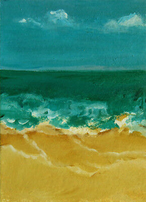 SAND & SEA ORIGINAL Art ACEO Coasts Ocean Painting by DONNA FRANCIS