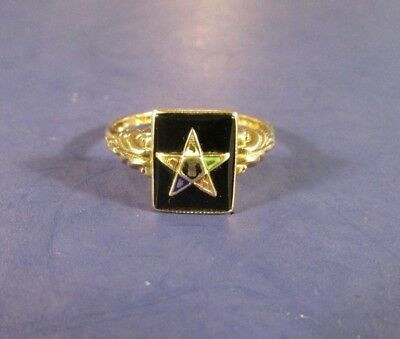 vintage antique Order of the Eastern Star Mason 10 k gold ring size 7.5