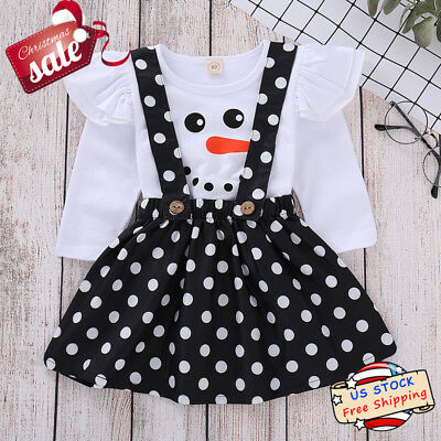 Toddle Baby Girl Snowman Ruffle Top+Polka Dot Straps Skirt Christmas Clothes Set