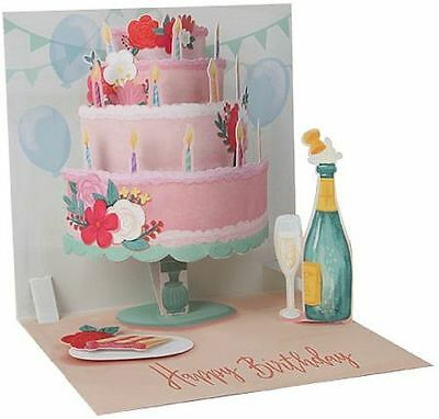 Happy Birthday Card Layered Cake 3D Pop Up Greeting Card Up With Paper