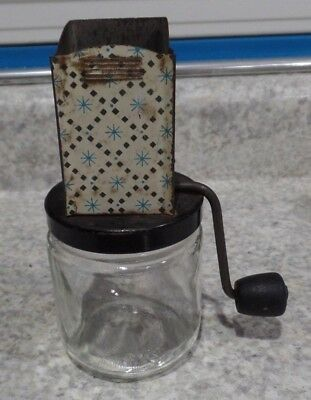 Vtg Metal Nut Grinder Jar, Wood Handle, Black, White, Blue Star Pattern GUC