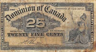 Canada  25  Cents   1.2.1900  P 9b  Circulated Banknote Red11