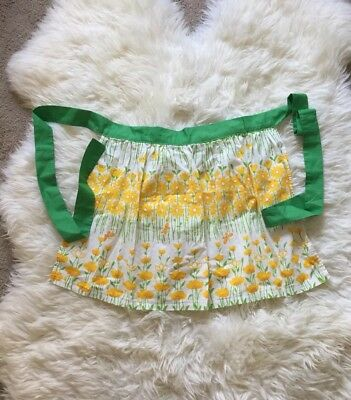 VINTAGE HALF apron old aprons kitchen daffodil yellow green