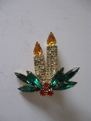 Vintage Candle And Wreath Costume Jewelry Booch