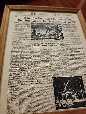 Vintage Baltimore Colts Vs Ny Giants 1958 Game Newspaper greatest football game