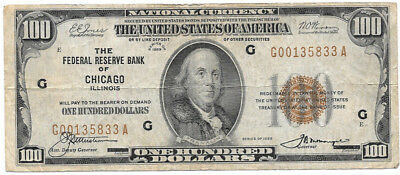 1929 Brown Seal $100 National Currency Note - Chicago Federal Reserve