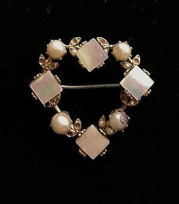 "Vtg Gold Tone Faux Pearl Mother of Pearl Heart Brooch 1 1/4"" Repair M078"