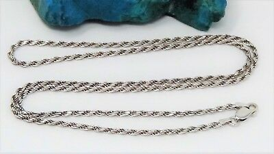 "Vintage Italian, Tested Solid Sterling Silver 23"" Long Rope Chain Necklace"