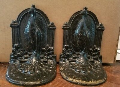 Pair Of Vintage Cast Iron Peacock Bookends