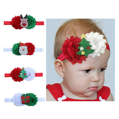 Xmas Baby Girls Kids Toddler Gifts Hairband Headband Stretch Cloth Head Elastic