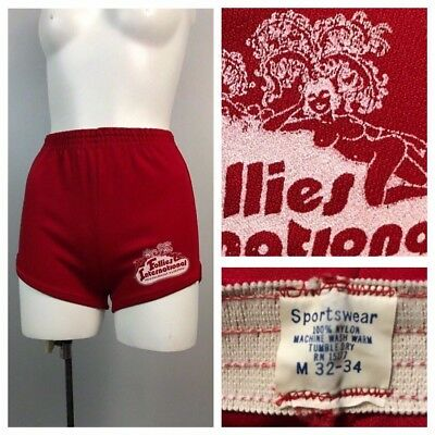Vintage 1970s 1980s Bright Red Follies International All Nude Revue Shorts L