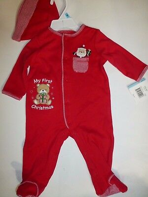 be32c98e3935d Little Me Baby Unisex My First Christmas Bear Red Sleeper with Hat 6 Months  New