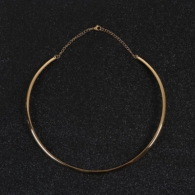 Stainless Steel Fashion Collar Neck Ring Necklace Gold Plated U-shaped 48cm 1 PC