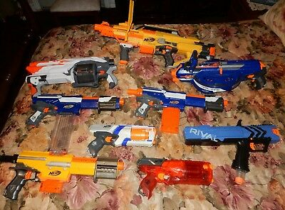 Nerf Gun Lot Of 9 gun with accessories Alpha trooper ,  stampede ,hailfire rival