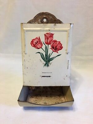 Vintage & Primitive ~ Rustic Tin Metal Match or Matchstick Holder - RED TULIPS