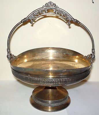 Atq Derby Silver Co., Quadruple Silverplate Metal Footed Basket with Handle