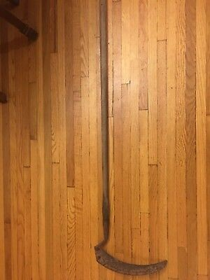 Vintage Primitive Antique Long Handle Sickle Scythe Farm Tool