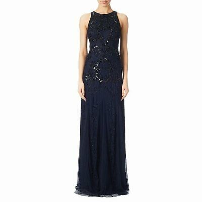 $299 Adrianna Papell Navy Blue Black Scroll Sequin Beaded Gown 6 NWT A973
