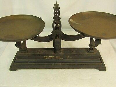 Antique Henry Troemner No. 3 Apothecary Balance Scale Cast Iron