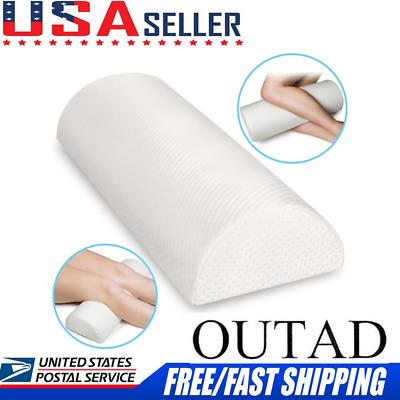 Back Pain Relief Bolster Wedge Sleeping on Side Memory Foam Semi-Roll Pillow OY
