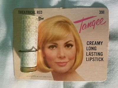 Tangee LIPSTICK on original CARD - Vtg Cosmetics - The Geo W Luft Co Inc Ny