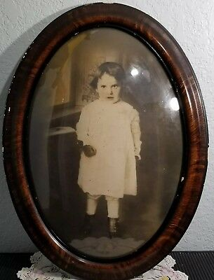 "Antique Oval Bubble Glass Tiger Striped Frame 17"" X 23"" Picture of Little Girl"