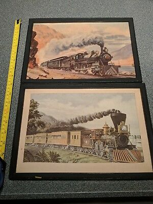 "Two framed vintage railroad art prints, one Fogg approx 9"" by 12"""