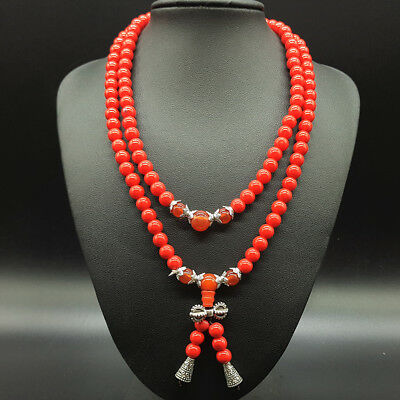 Exquisite handmade red coral & Tibetan silver necklace a4001