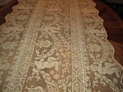 Antique Ecru Hand Made Filet Lace Figural Tablecloth ,runner C1900 Early (A39)