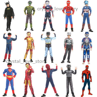 The Avengers Superman Batman Muscle Jumpsuits + Mask Kids Boys Cosplay Costume