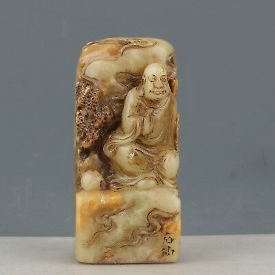 Chinese Exquisite Hand-carved Buddha carving Shoushan Stone seal
