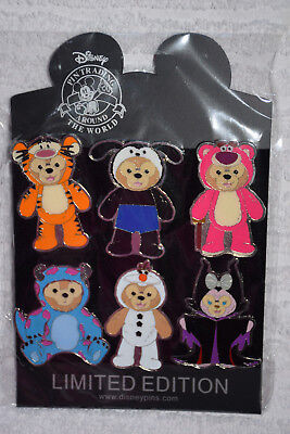 Duffy Disney Booster 6 Pin Set Pack Lotso Olaf Oswald Tigger Sully Maleficent