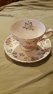 Vintage Tuscan Bone China Tea Cup And Saucer Pink With Flowers Made in England
