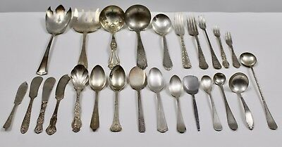 Lot of 27 Pot Luck Assorted Antique Flatware Spoon Fork Knife Serving Pieces