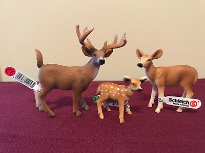 Schleich Lot 3 White-tailed Buck 14253, Doe 14254, Fawn 14256, Retired 2014 deer