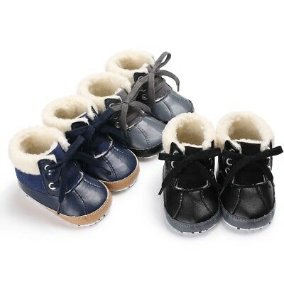 Baby Kid Boy Girls Soft Boots PU Leather Winter Snow Shoes 12M Infant Fashion