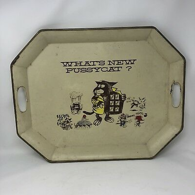 """Vintage 1966 AETNA """"What's New Pussycat""""  Insurance Advertising Metal Tray"""