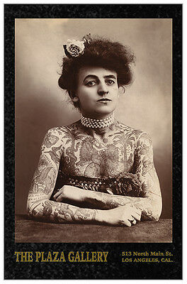 TATTOOED LADY 1907 Circus Sideshow Vintage Photograph Cabinet Card