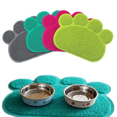 Cat Bowl Mat Dog Pet Feeding Water Food Dish Tray Wipe Clean Paw Floor Placemat