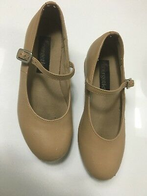 Energetiks Tan Leather Tap Shoes Low Heel Girls Size 13