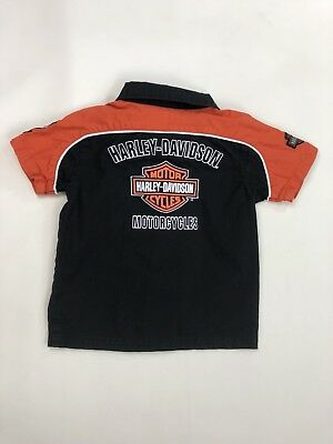 Harley Davidson Motorcycles Youth Boys Toddler Short Sleeve Button Up Shirt 4T